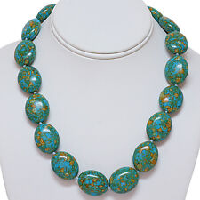 Oval Green Simulated Turquoise Howlite Necklace 18 Inch With Lobster Clasp