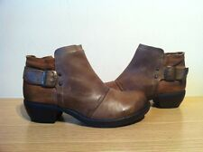 FLY LONDON MEL BROWN LEATHER LADIES ANKLE BUCKLE BOOTS SIZE 4 UK 37 EU