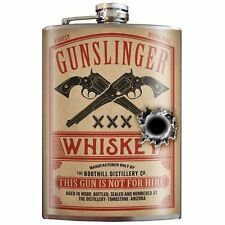Trixie & Milo Gunslinger Whiskey FLASK 100% Stainless Steel 8 oz Made in USA