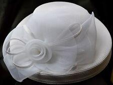 Beautiful Vintage Ladies Wide rim Hat By Deborah fashions Rose Netting White!