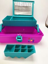 Vintage Caboodle Case 2622 Purple Teal Pink Makeup Carrying Container Caboodles