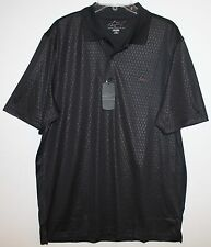 Greg Norman Mens Black Subtle Texture Play Dry Polo Golf Shirt NWT $59 L