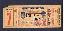 RARE 1946 World Championship Joe Louis Billy Conn full boxing ticket w headshots