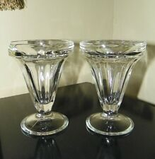 """Pair """"Corning Designs"""" Clear Fluted Glass Ice Cream Sundae~Dessert Dishes~Mexico"""