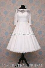 1545 short 50s 60s wedding dresses tea length knee lace long sleeves bateau neck