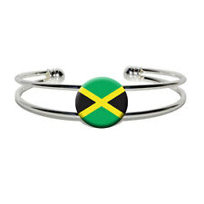 Jamaica Jamaican Flag - Novelty Silver Plated Metal Cuff Bangle Bracelet