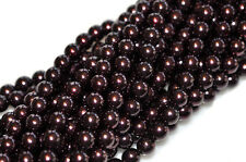 75 Blackberry Czech Glass Round Pearl Beads 8MM
