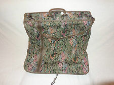 Pierre Cardin Tapestry Olive/floral Hanging Garment Bag Luggage Travel: VGC