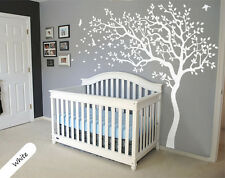 White Tree Wall Decal Huge Removable Nursery Tree wall decals Mural Stickers 047