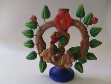 Mexican Folk Art Tree of Life Adam & Eve Clay Pottery Candle Holder