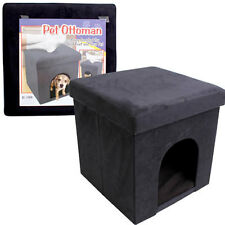 "Folding Ottoman Bench Foot Rest Stool Seat micro suede Black 15X15""X15"""