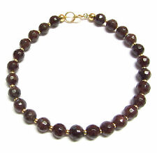 9ct Gold 7.5 inch Bracelet with Genuine Semi-precious Garnet Gemstone Beads