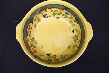 "Vintage TERRE E PROVENCE Pottery Floral Green Band Yellow Glaze 10"" Bowl, France"