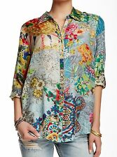 $200 NWT Johnny Was Silk Brightwood Button-Down Top Blouse Tunic Shirt 3X 4X