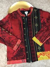 Chico's red floral embroidered jacket Size 3 L XL EUC Light Weight
