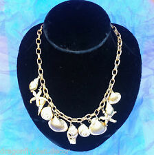Vintage Korean Brass w White Enamel Sea Shell Ocean Beach Large Charms Necklace