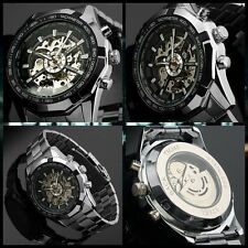 Automatic Mechanical Winner Dial Men Skeleton Stainless Steel Wrist Watch LUXU