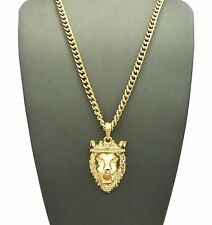 """Iced Out King Crown Lion Hip Hop Pendant & 5mm 24"""" Cuban Chain Necklace N0015G"""