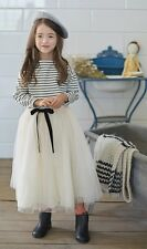 NWT Girl sz 10 Tulle Overlay Elastic Waist Long Skirt & Striped Pullover OUTFIT