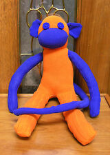 "20"" Bronco  Orange & Blue Sock Monkey Hand Made New Plush Stuffed unique"