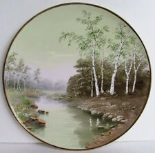 """Antique Hand Painted White Birch & Stream French German Plate, Artist Signed 13"""""""