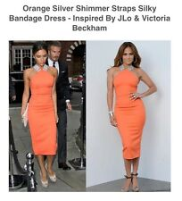 Inspired By J LO Victoria Beckham Orange Silver Bandage Dress By Hot Miami Style