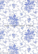 Blue & White Rose Floral Toile Vinyl Contact Paper Shelf Drawer Liner Peel Stick