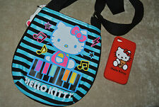 "New Girls Music PIANO HELLO KITTY Crossbody Bag 9"" x 6.5""+ Free iPhone 4 Case"