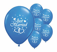 "8 JUST MARRIED DARK BLUE 12"" HELIUM QUALITY PEARLISED WEDDING BALLOONS (PA)"