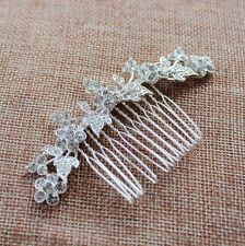 "3.5""big CRYSTAL HAIR COMB silver rhinestone bridal FLOWER LEAVES ornate vintage"