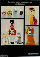 1967 ADVERT Collins & Aikman Stuffed Toy Animals State Fair Stuart Schwartz Fair