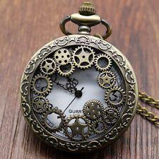 Bronze Steampunk Pendant Necklace Chain Quartz Pocket Watch Mens Womens P382