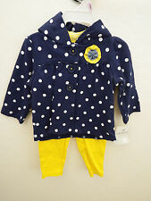 Carters Baby Girl 2 Piece Cardigan Pants Set Outfit Clothes 12M Blue Yellow