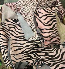 Pink Zebra & Pink Leopard Hair on Scraps Cow Hide 1 Pound Random Sizes