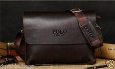 Men's Leather Bag Briefcase Messenger Laptop Shoulder POLO VIDENG Handbag Brown
