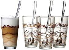 Gläser Set Löffeln Glässern Kaffe Becher Latte Macchiato Crema Tee Glas Heiß