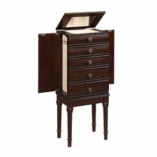 Jewelry Cabinet Armoire Storage Box Chest Stand Organizer Necklace Wood NEW