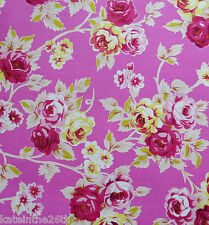 BTY Jennifer Paganelli For FreeSpirit 100% Cotton Floral, Flower Fabric On Pink