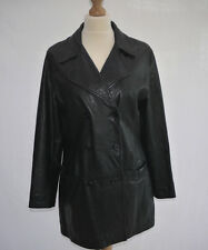 CLASSIC 80's VINTAGE NEXT SOFT BLACK LEATHER LONG FASHION JACKET SHORT COAT UK10