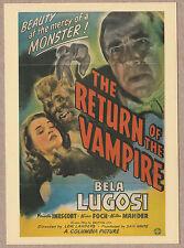 """Return of the Vampire"" Movie Postcard Bela Lugosi (1943 Columbia Pictures) NM"