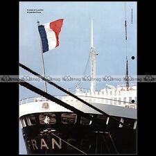 #clf097.001 ★ VUE DE LA POUPE ET DU PAVILLON DU PAQUEBOT FRANCE ★ Fiche Marine