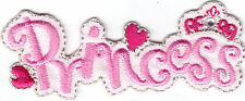 """""""PRINCESS"""" w/HEARTS & RHINESTONE ACCENT/Iron On Embroidered Applique/Words,Dance"""