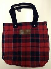 NWT Abercrombie & Fitch Classic Navy Red Plaid Canvas Tote Book School Bag NEW