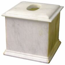 Luxury Imported Exotic White Marble Tissue Box Cover from Atlantic Collection