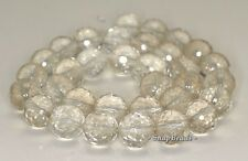 12MM  ROCK CRYSTAL GEMSTONE GRADE B FACETED ROUND LOOSE BEADS 7.5""