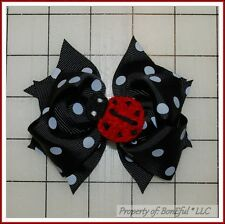 BonEful RTS NEW Girl Boutique Hair*Bow B&W Black White Dot Red Lady*Bug Adoption