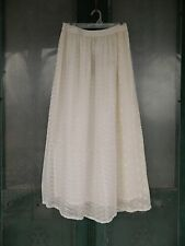 Boho Bargain Sacred Threads Layered Full Skirt -XL- Ivory Embroidered Rayon NWT