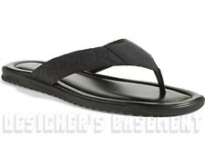 GUCCI mens 12G* black GUCCISSIMA Leather BEACH flip-flops Thong sandals NIB Auth