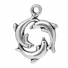 10 x Tibetan Silver Dolphin Charms Pendant Sea 21mm