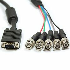 5m VGA Male to 5 BNC RGB & Sync Plugs CCTV Monitor Cable/Lead - DVR Video Camera